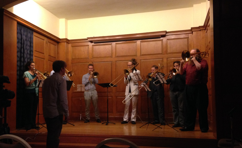"TILT Trombones perform Chris McIntyre's ""Tilted Arc"", May 31, 2014"