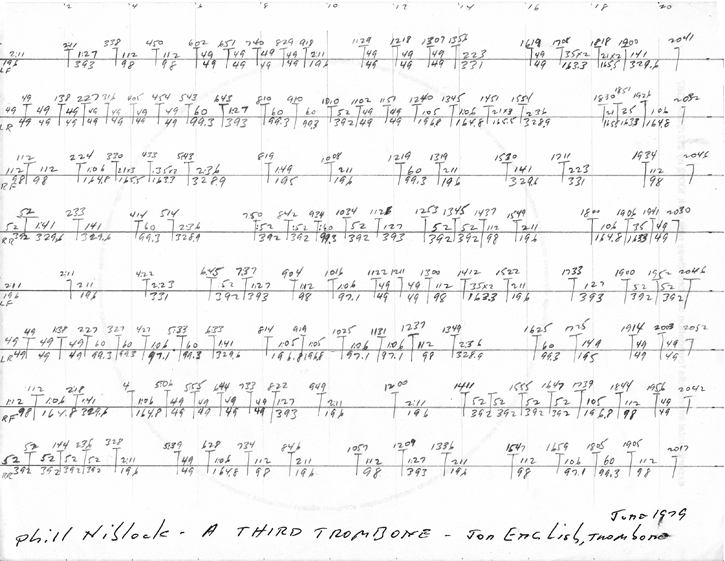 "Tape score for Phill Niblock's ""A Third Trombone"""