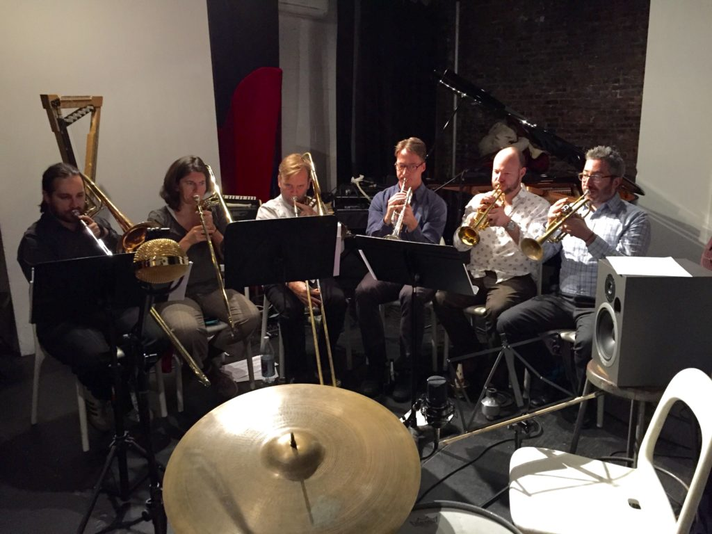 TILT Brass Sextet playing Zeena Parkins' music at The Stone, Nov. 2015